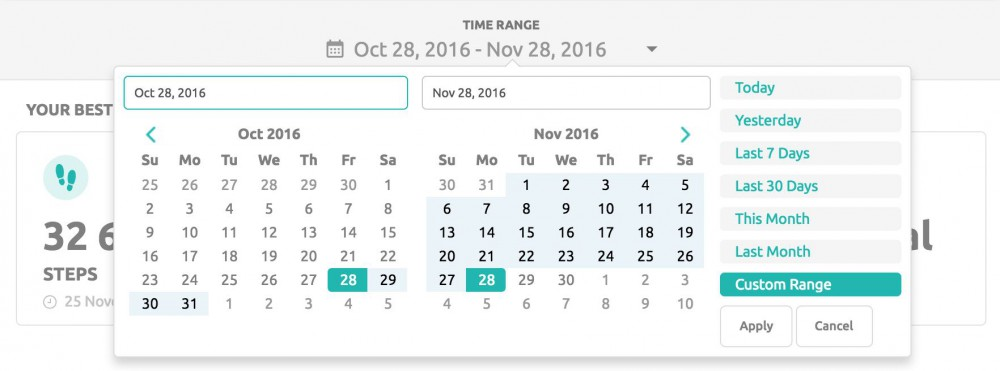 Calendar on the Stats page on inKin Social Fitness Platform