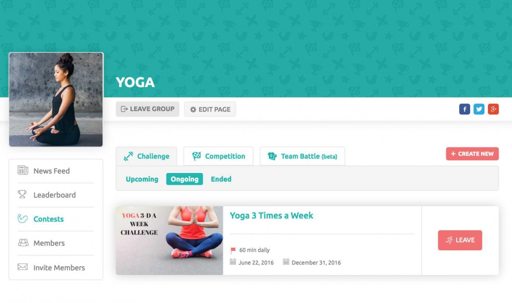 Group Fitness Challenges and competitions on inKin Social Fitness Platform