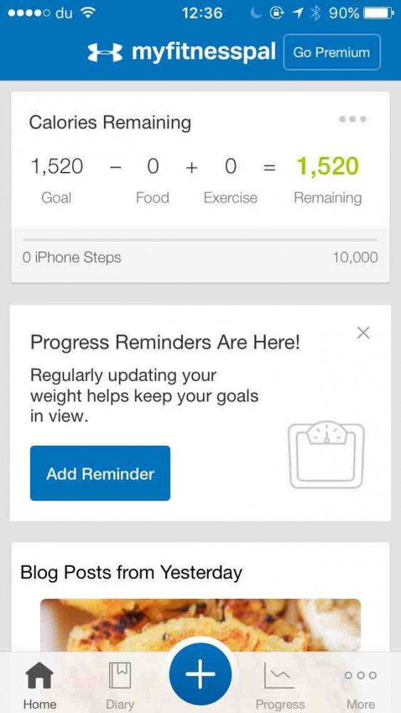 MyFitnessPal app screenshot on inKin Social Fitness Blog