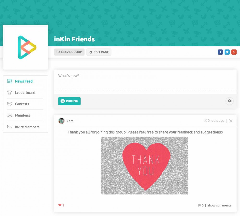 Group Newsfeed on inKin Social Fitness Platform