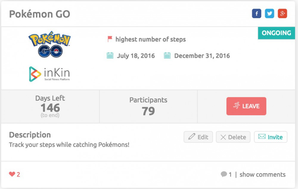 Pokemon Go Fitness Competition on inKin Social Fitness Platform