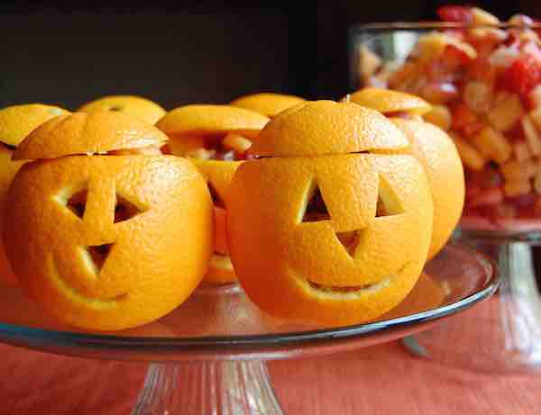 Healthy Halloween Recipes Snack-O-Lantern Fruit Cups