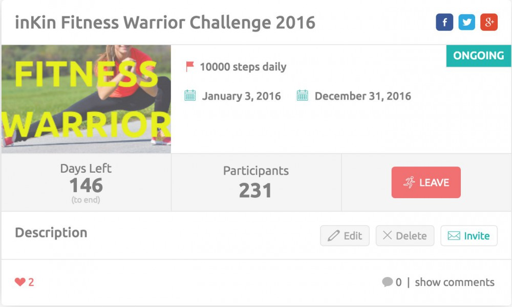 Fitness Warrior Challenge on inKin Social Fitness Platform