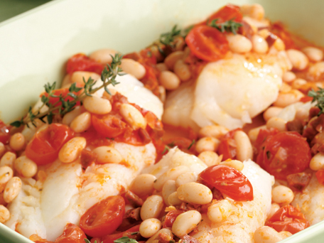 Baked cod with chorizo and beans recipe on inKin Fitness and Health Blog