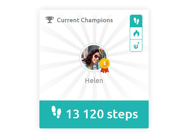 inKin Social Fitness Platform Current Champion in steps