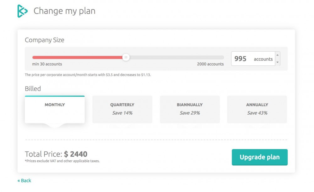 Change my plan on billing page on inKin corporate wellness platform