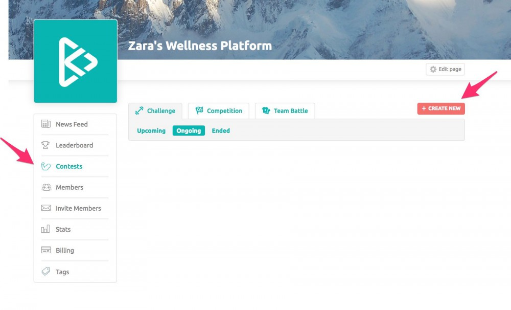How To Create Contests On Your Wellness Platform Step 1