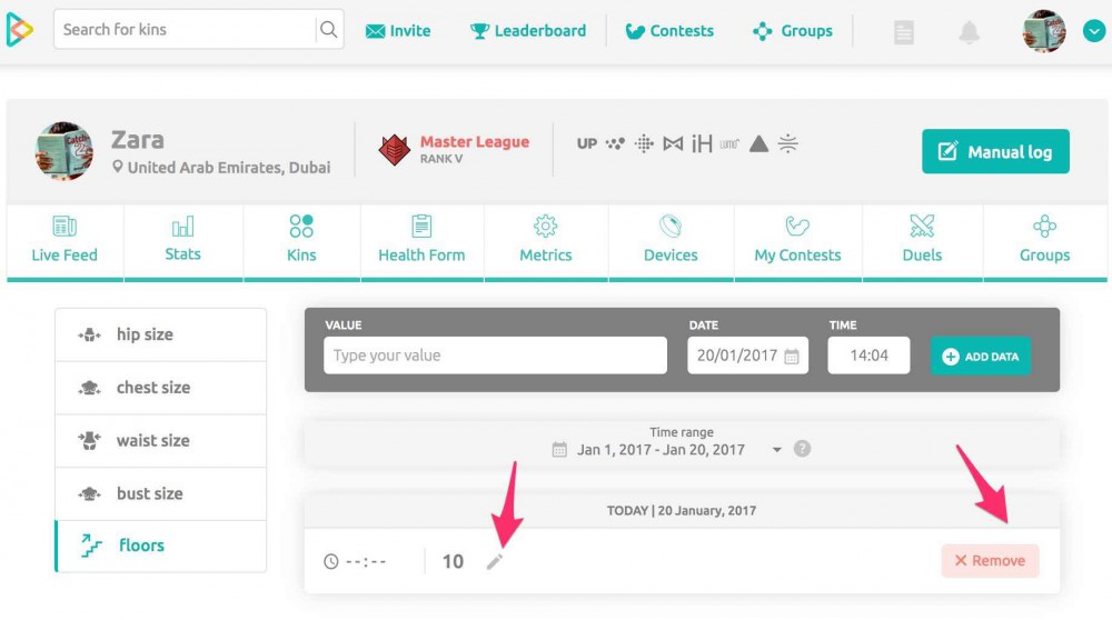 How to use manual log on inKin Social Fitness Platform. Step 4.1