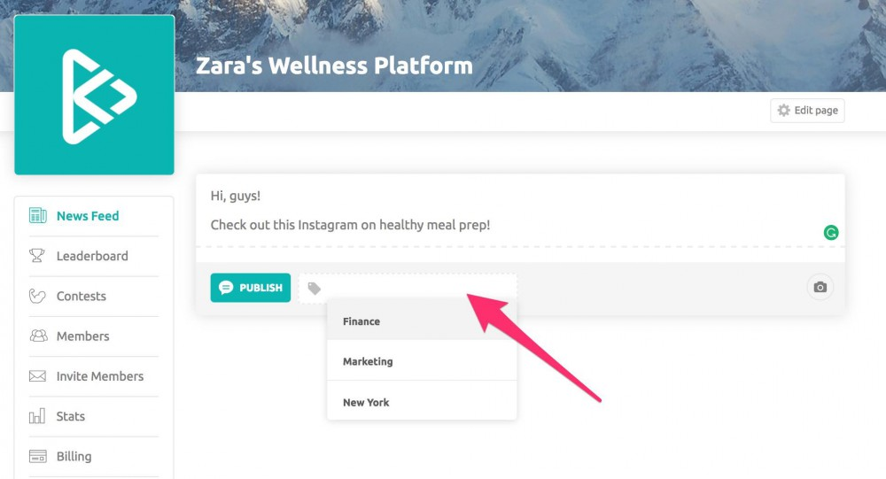 How to use tags on your wellness platform news feed 2