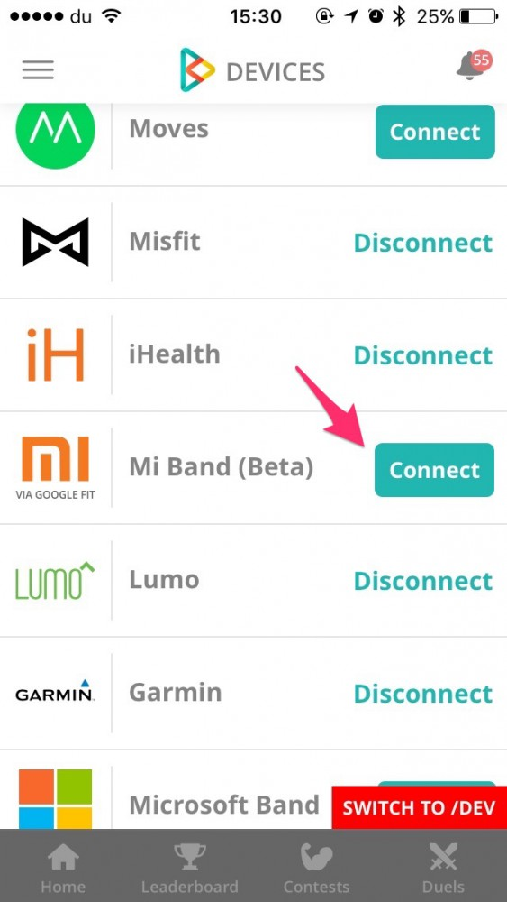 How To Connect Mi Band via Google Fit on inKin Social Fitness Platform. Step 9.3